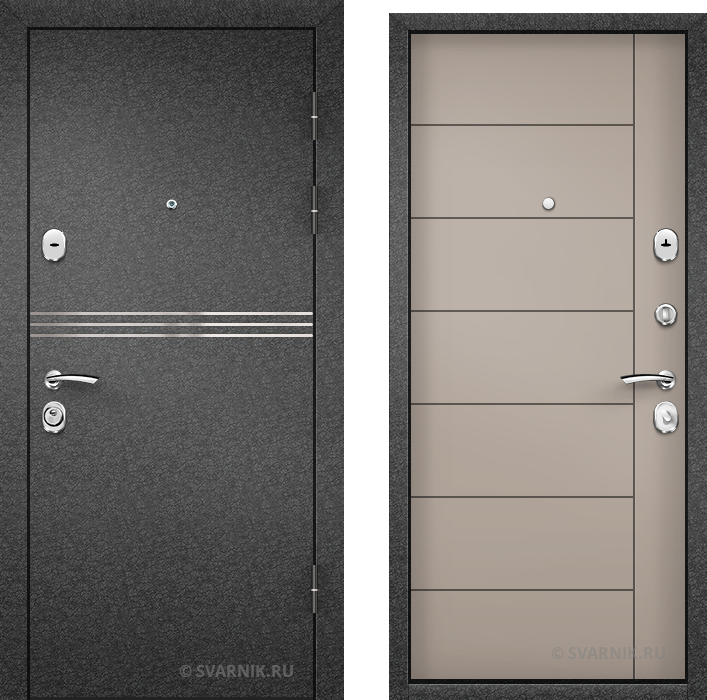 Дверь входная с шумоизоляцией уличная порошковая - МДФ