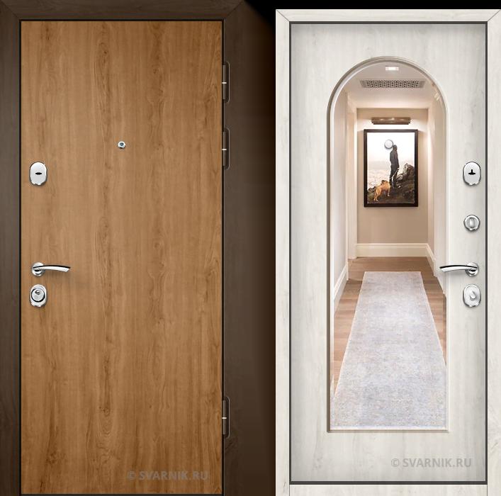 Дверь металлическая с зеркалом уличная ламинат - шпон