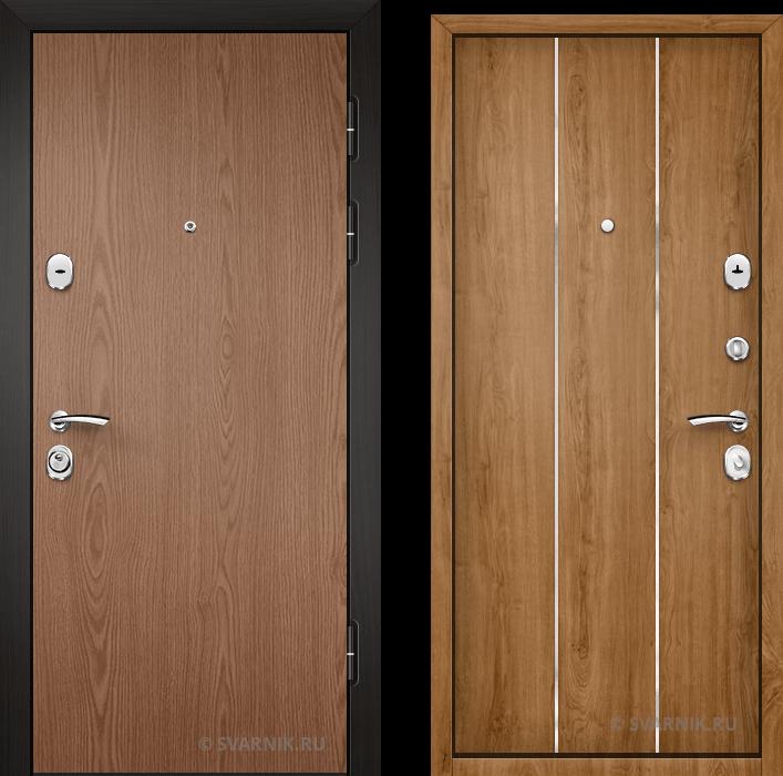Дверь металлическая утепленная в коттедж ламинат - шпон