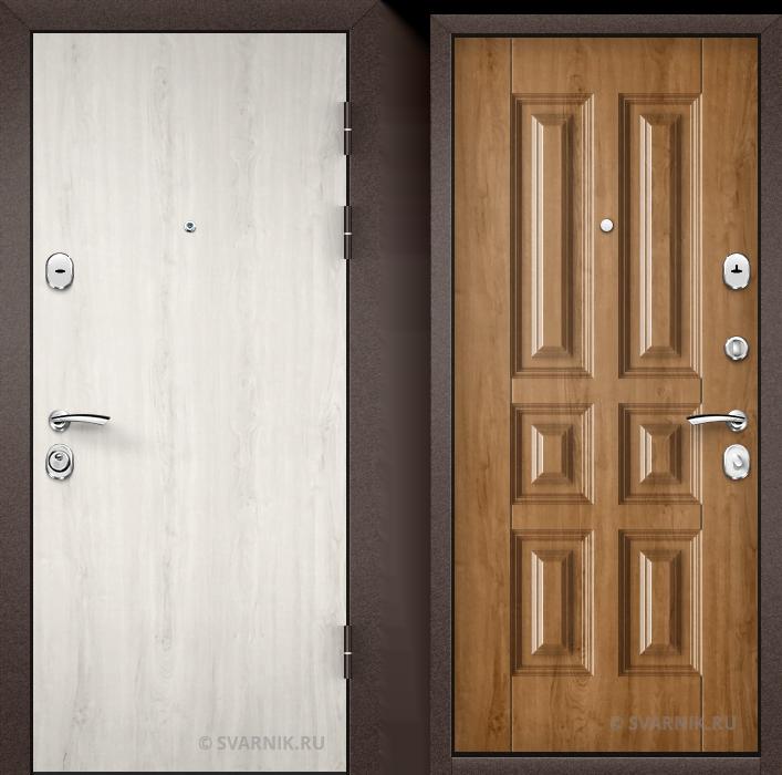 Дверь металлическая правая в коттедж ламинат - МДФ